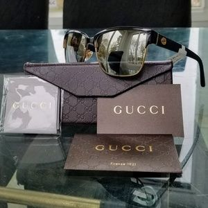 Gucci Accessories - 💼 GUCCI Square Black/Gold Mirrored Sunglasses